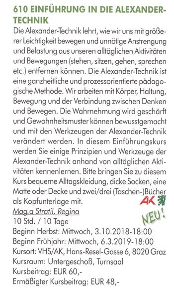 Alexander-Technik an der VHS Graz