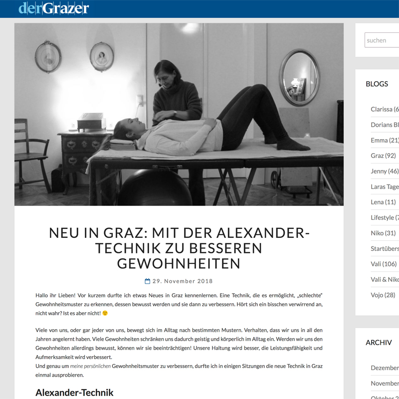 Post über die Alexander-Technik im Der Grazer-Blog